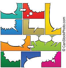 colorare, libro comic, pagina, sagoma
