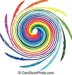 colorare, logotipo, onde, spirale, arcobaleno