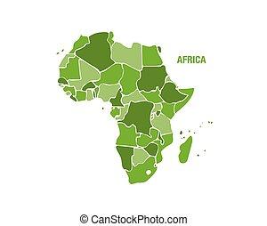 colorare mappa, africa, verde