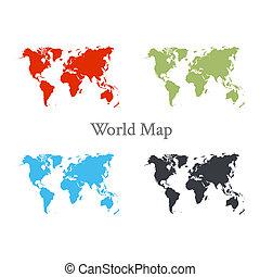 colorare mappa, differente, set, mondo