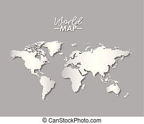 colorare mappa, silhouette, grayscale, mondo