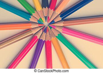 colorare, matite, bianco, isolato, fondo