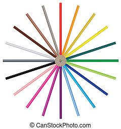 colorare, matite, immagine, vettore, -
