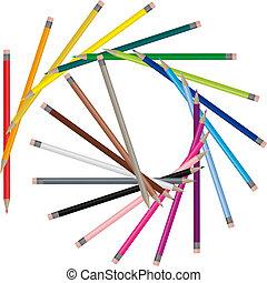 colorare, matite, -, vettore, immagine