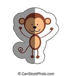 colorare, mezzo, adesivo, uggia, scimmia