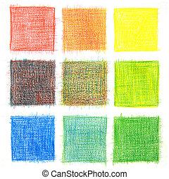 colorare, miscelare, fondo, matite