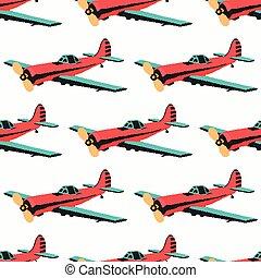 colorare, modello, aeroplano, seamless