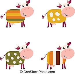 colorare, modello, fondo, isolato, carino, mucche, collezione, bianco