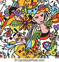colorare, modello, seamless, faccia, floreale, ragazza