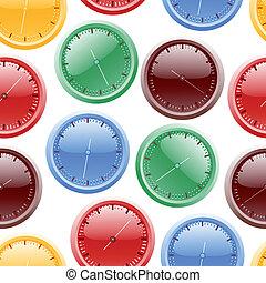 colorare, modello, seamless, illustrazione, vettore, cronometri