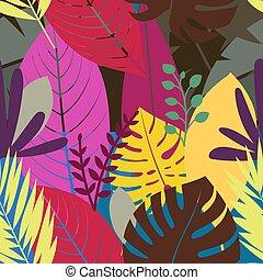 colorare, modello, seamless, leaves., vettore, fondo