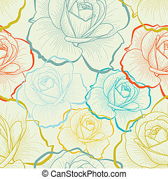 colorare, modello, seamless, mano, rose, disegno