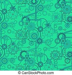 colorare, modello, seamless, vettore, sfondo verde, meccanico