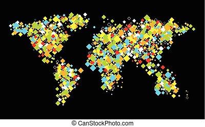 colorare, mondo, astratto, map.