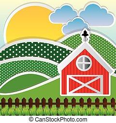 colorare, montagne, nuvola, fattoria, sole