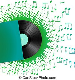 colorare, note, illustrazione, vettore, vinile, splash., disco, musicale