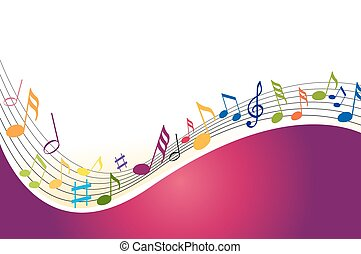 colorare, note, musica, fondo
