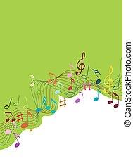 colorare, note musica, su, uno, solide, sfondo bianco