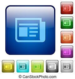 colorare, notizie, quadrato, bottoni
