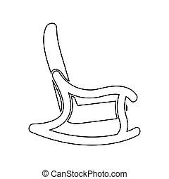 colorare, oscillante, nero, sedia, icona