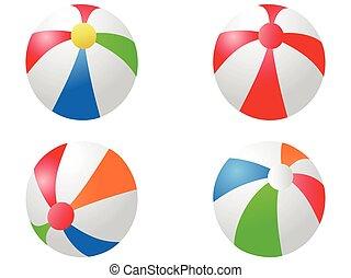 colorare, palle, spiaggia, icona