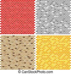 colorare, parete, mattone, tessiture, collezione