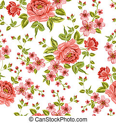 colorare, pattern., peonia, lussuoso