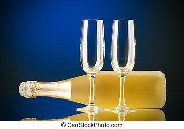 colorare, pendenza, champagne, contro, fondo