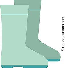 colorare, pioggia, illustrazione, isolato, vettore, verde, stivali, fondo., gomma, bianco