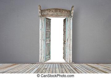colorare, porta legno, pavimentazione, grigio, stanza