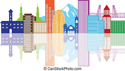 colorare, portland, oregon, orizzonte, illustrazione