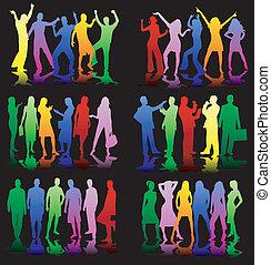colorare, profilo, -, giovani persone