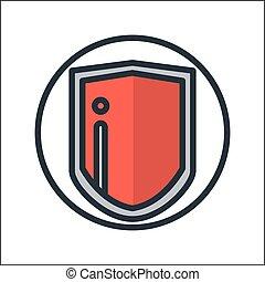colorare, protezione, scudo, icona