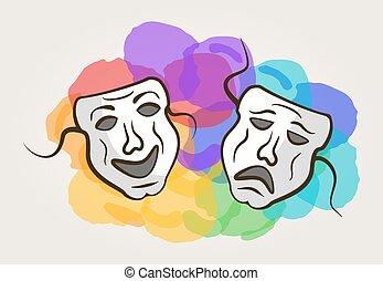 colorare, punti, maschera, carnevale