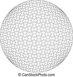 colorare, puzzle, palla, 21, 3d