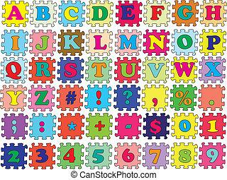 colorare, puzzle, vettore, abc