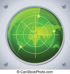 colorare, radar, verde