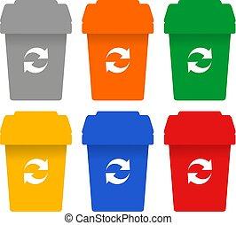 colorare, riciclare, bottiglie, simboli