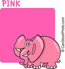 colorare, rosa, cartone animato, elefante