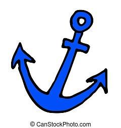 colorare, scarabocchiare, illustrazione, mano, vettore, anchor., disegnato, icona