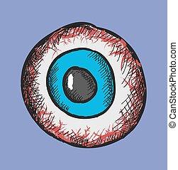 colorare, scarabocchiare, occhi, vettore