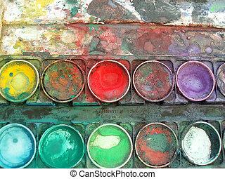 colorare, scatola, tavolozza
