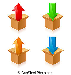 colorare, scatole, frecce