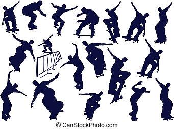 colorare, scatto, ragazzi, skateboard, uno, cambiamento, vettore, illustration.