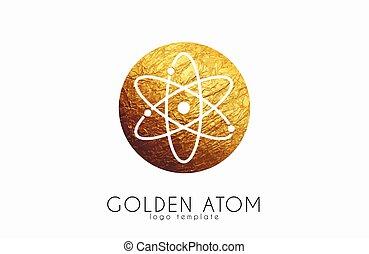 colorare, scienza, simbolo., atom., atomo, logotipo, design.