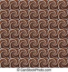 colorare, seamless, cioccolato, spirali, fondo, geometrico