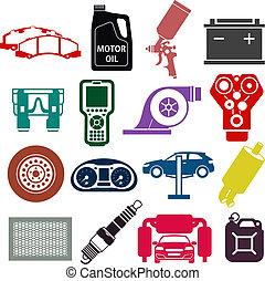 colorare, servizio automobile, icone
