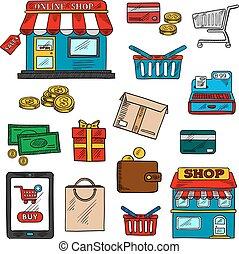 colorare, shopping, commercio minuto, icone