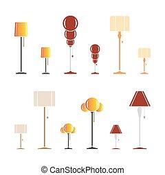 colorare, silhouette, set, lampade