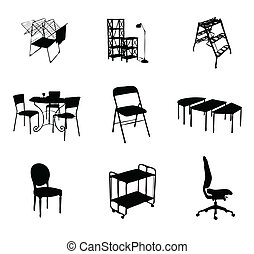 colorare, silhouette, set, nero, mobilia